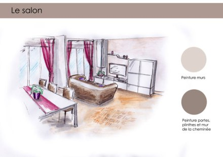 Architecture et d coration d int rieur for Croquis salon